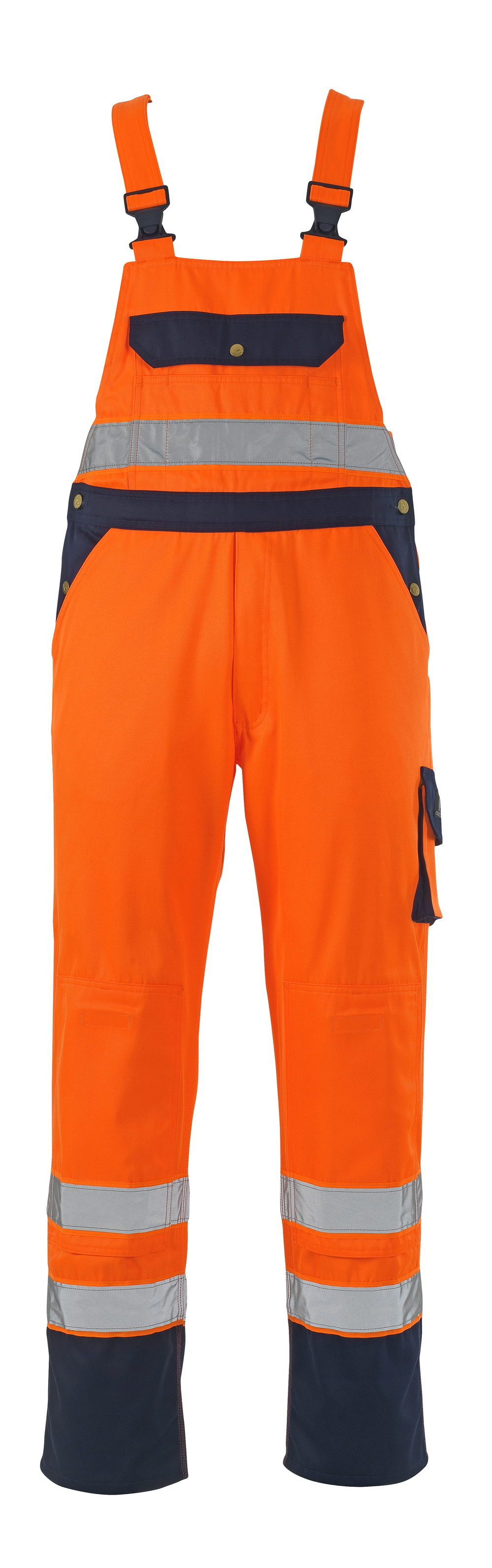 00969-860-141 Avosuoja polvitaskuilla - hi-vis oranssi/tummansininen