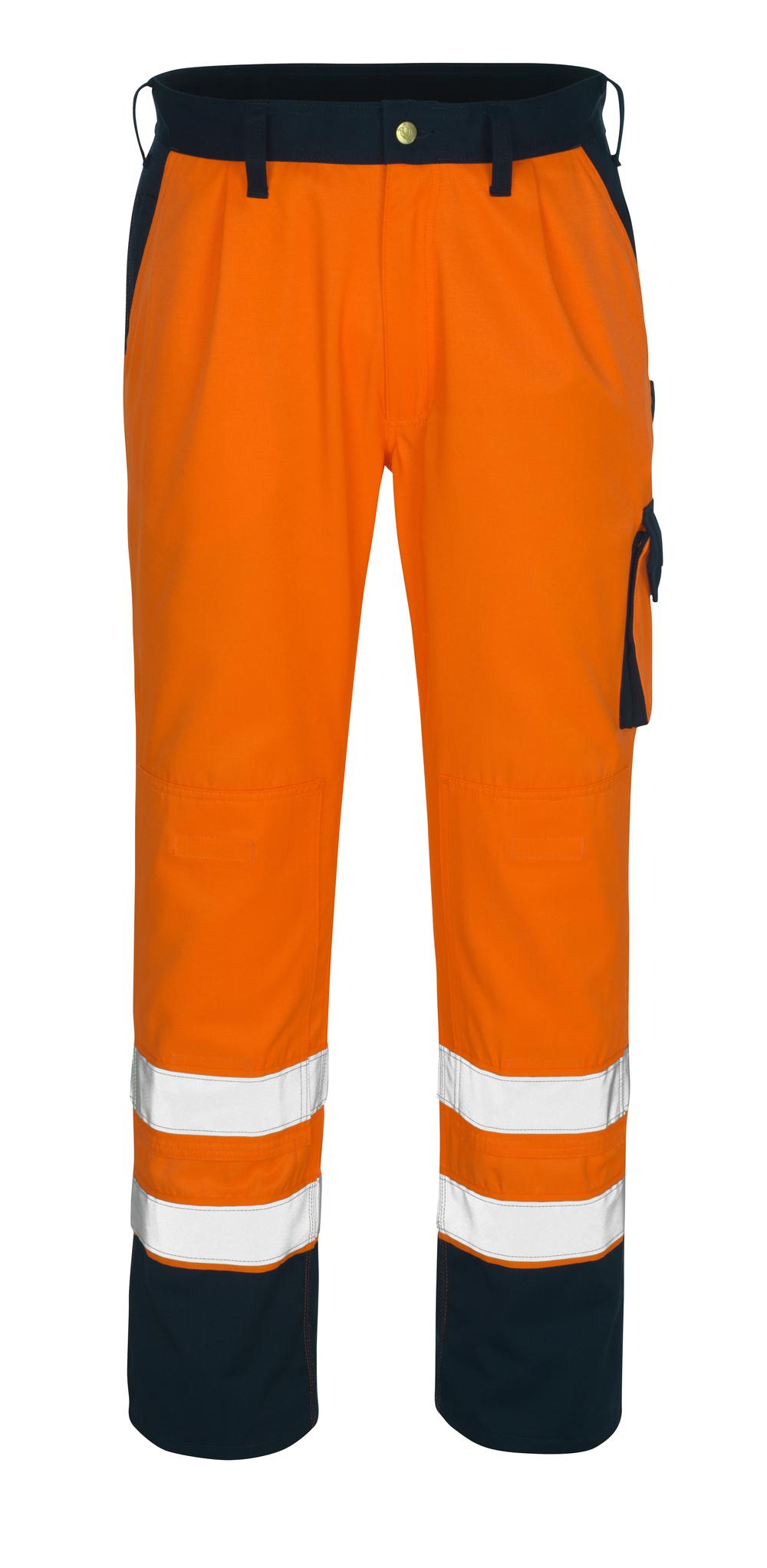 00979-860-141 Housut polvitaskuilla - hi-vis oranssi/tummansininen