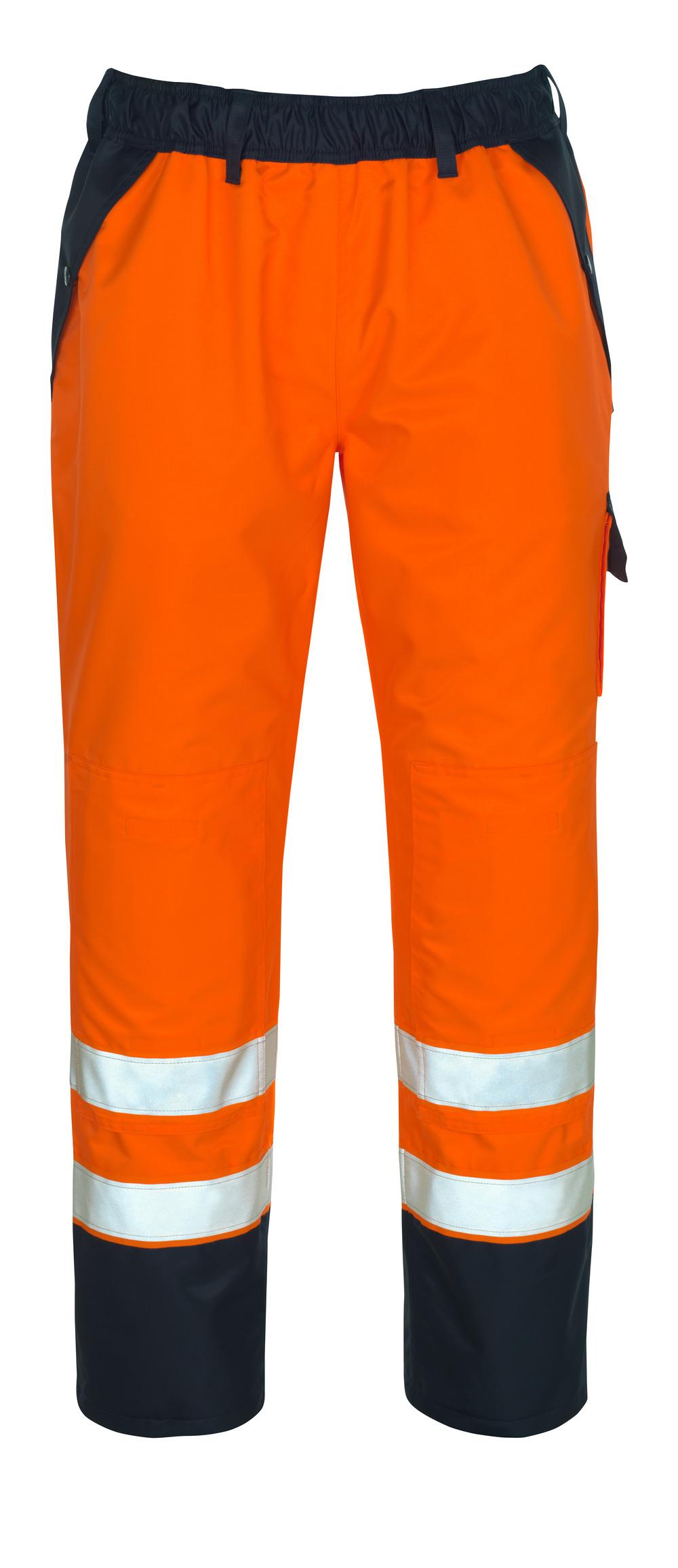 07090-880-141 Päällyshousut polvitaskuilla - hi-vis oranssi/tummansininen