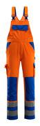07169-860-1411 Avosuoja polvitaskuilla - hi-vis oranssi/koboltinsininen