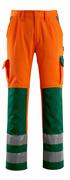 07179-860-1403 Housut polvitaskuilla - hi-vis oranssi/vihreä