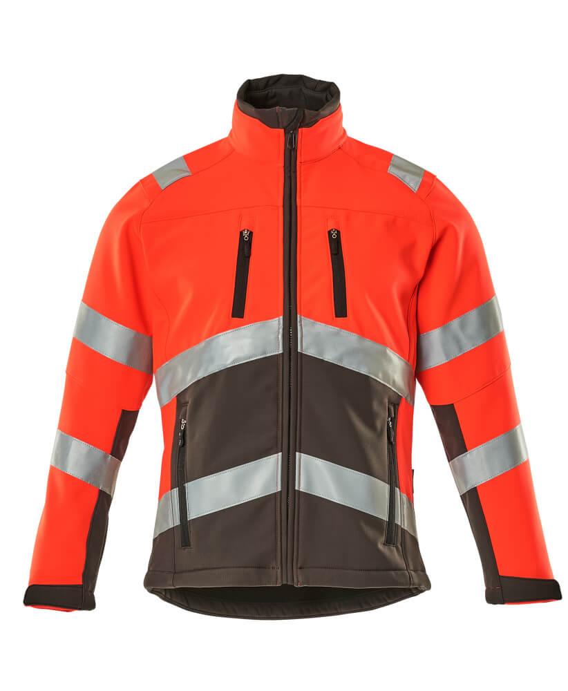 09001-183-A49 Softshell-takki - hi-vis punainen/tumma antrasiitti