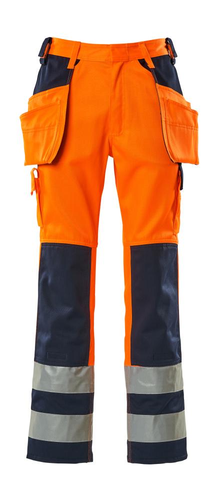 09131-860-141 Housut polvi- ja riipputaskuilla - hi-vis oranssi/tummansininen