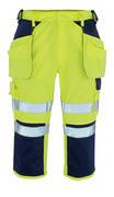 09149-470-171 ¾-housut polvi- ja riipputaskuilla - hi-vis keltainen/tummansininen