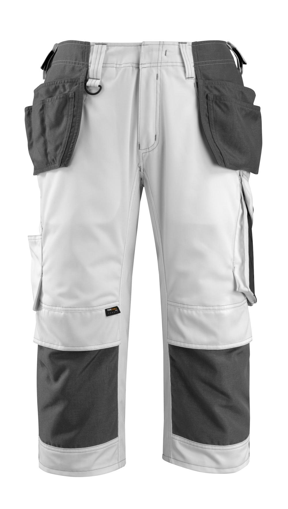 14349-442-0618 ¾-housut polvi- ja riipputaskuilla - valkoinen/tumma antrasiitti