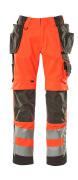 15531-860-14010 Housut polvi- ja riipputaskuilla - hi-vis oranssi/tumma laivastonsininen