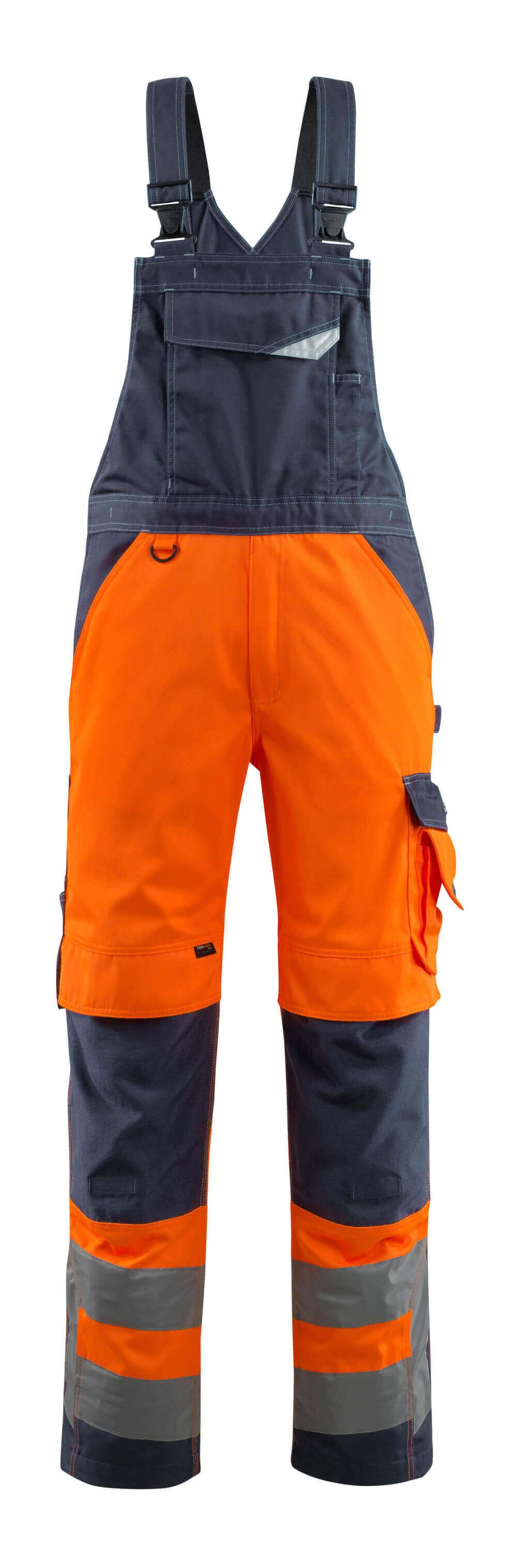 15569-860-14010 Avosuoja polvitaskuilla - hi-vis oranssi/tumma laivastonsininen