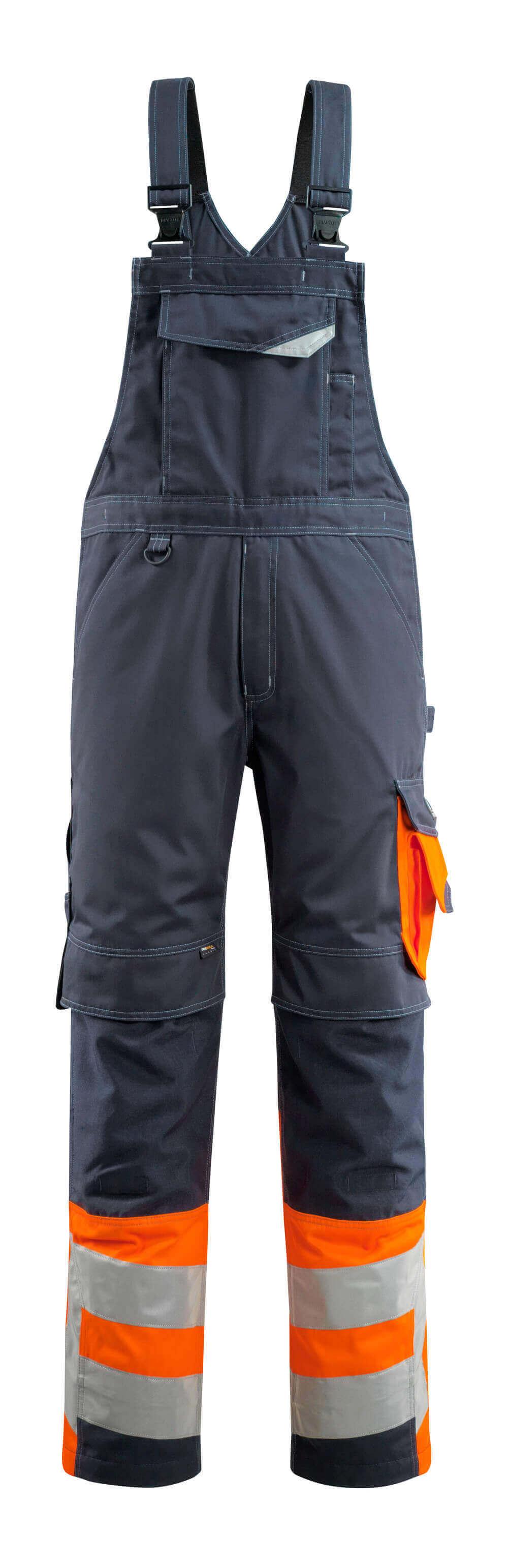 15669-860-01014 Avosuoja polvitaskuilla - tumma laivastonsininen/hi-vis oranssi