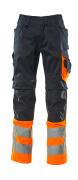 15679-860-01014 Housut polvitaskuilla - tumma laivastonsininen/hi-vis oranssi