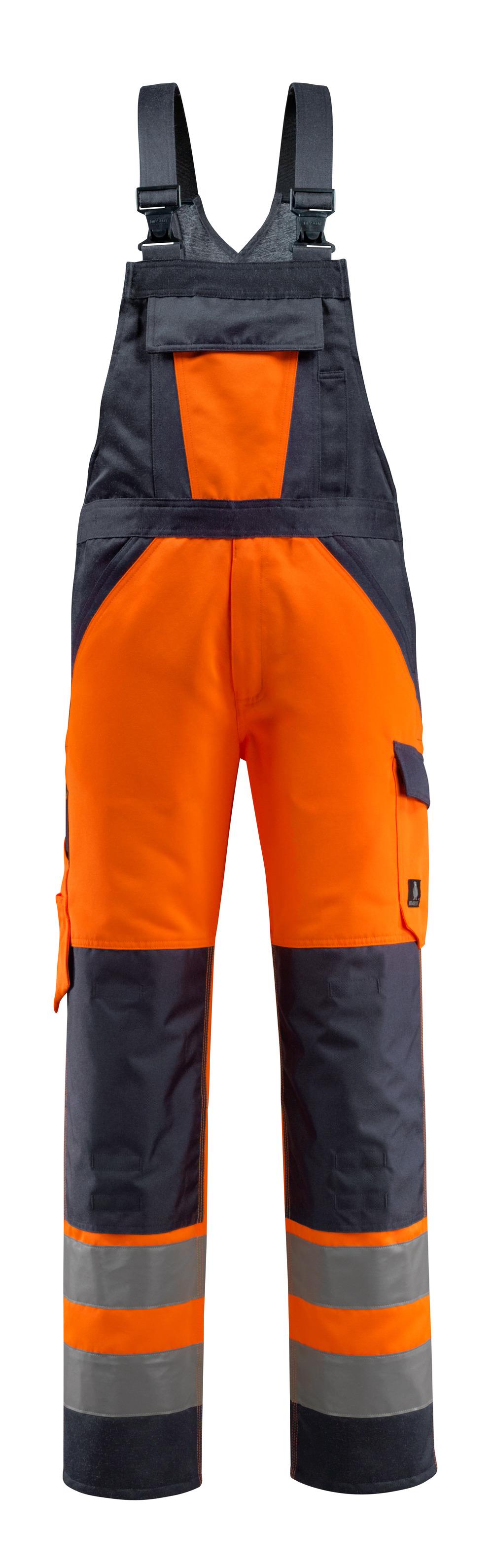 15969-948-14010 Avosuoja polvitaskuilla - hi-vis oranssi/tumma laivastonsininen