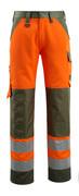 15979-948-1433 Housut polvitaskuilla - hi-vis oranssi/sammaleenvihreä