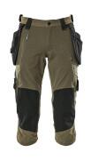 17049-311-33 ¾-housut polvi- ja riipputaskuilla - Sammaleenvihreä
