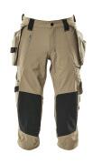 17049-311-55 ¾-housut polvi- ja riipputaskuilla - vaalea khaki
