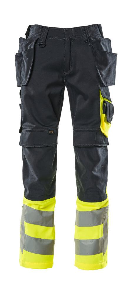 17531-860-01017 Housut riipputaskuilla - tumma laivastonsininen/hi-vis keltainen