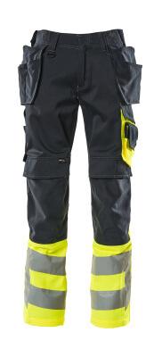 17531-860-01017 Housut polvi- ja riipputaskuilla - tumma laivastonsininen/hi-vis keltainen
