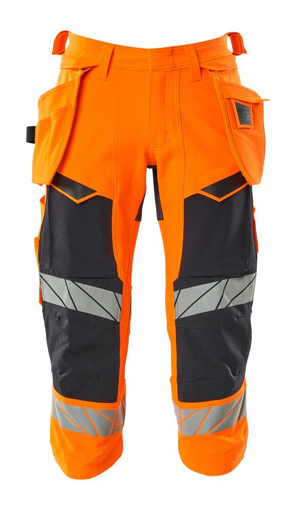 19049-711-14010 ¾-housut riipputaskuilla - hi-vis oranssi/tumma laivastonsininen