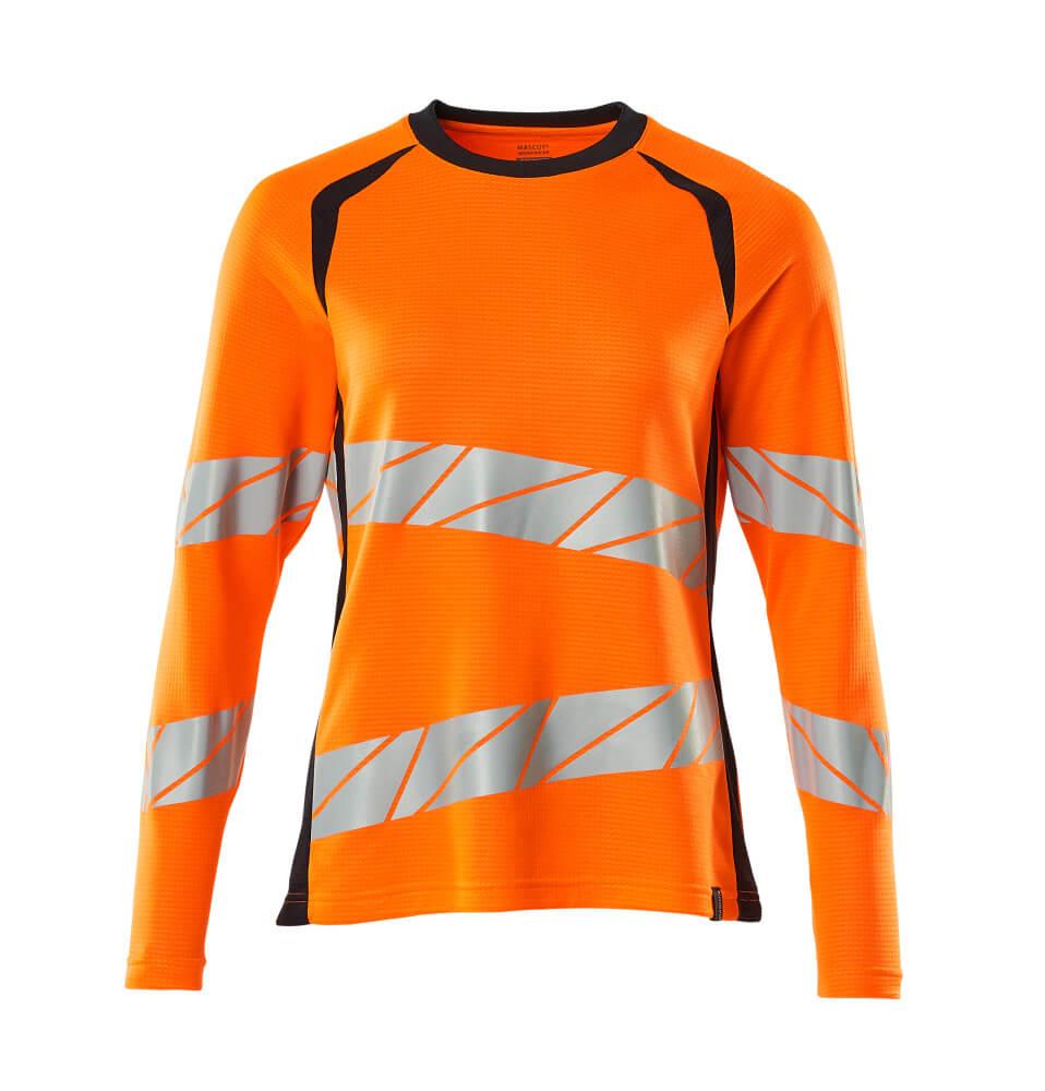 19091-771-14010 T-Paita, pitkähihainen - hi-vis oranssi/tumma laivastonsininen