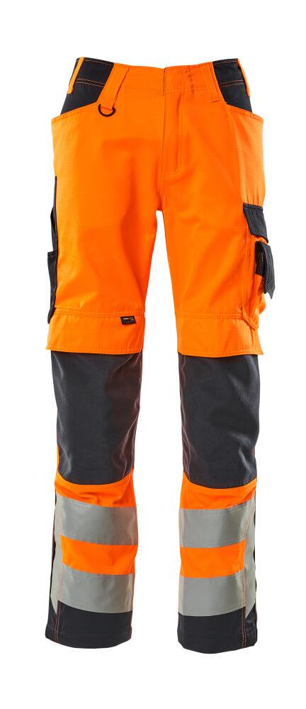 20879-236-14010 Housut polvitaskuilla - hi-vis oranssi/tumma laivastonsininen