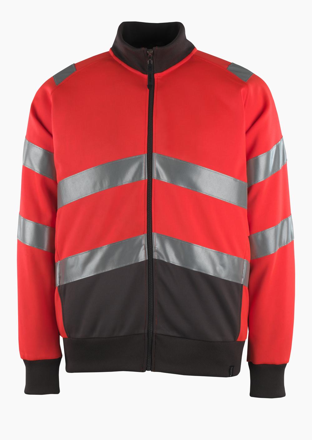 50116-950-A49 Swetari vetoketjulla - hi-vis punainen/tumma antrasiitti