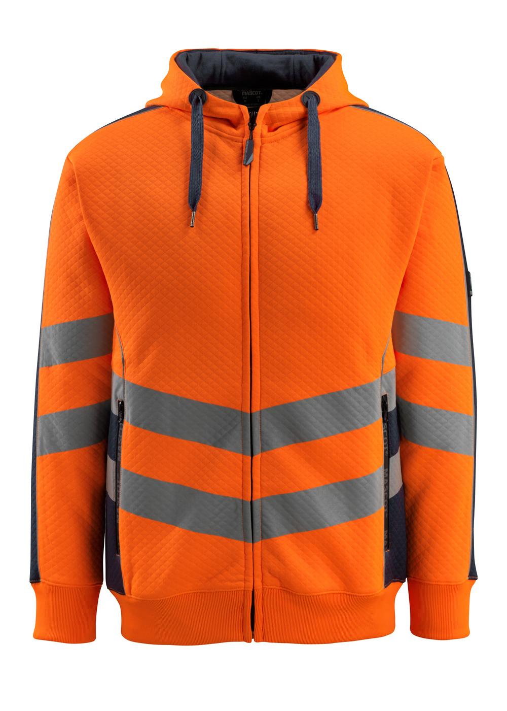 50138-932-14010 Huppari vetoketjulla - hi-vis oranssi/tumma laivastonsininen